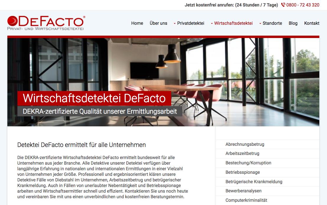 Screenshot Detektei DeFacto - Unterseite